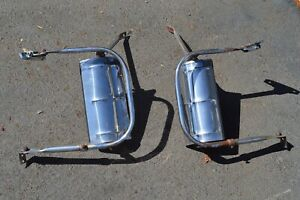 2 Vintage West Coast Jr Stainless Adjustable Truck Mirrors Chevy C10 Dodge D100