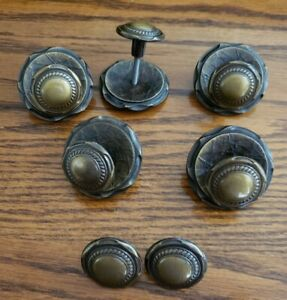 7 Vintage Amerock Carriage House Brass Drawer Pull Knobs 5 With Backplates