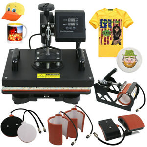 Used 6in1 Digital Transfer Heat Press Machine Sublimation T shirt Mug Hat Plate