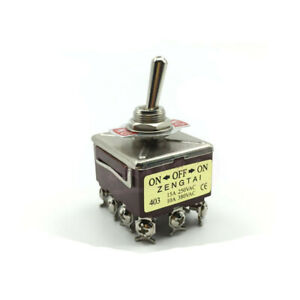 E ten403 Toggle Switch 3 Position 4pdt On off on 12 Pin 10a 380vac Latching 12mm