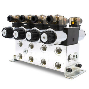 Electronic Hydraulic Double Acting Directional Control Valve 4 Spool 15 Gpm