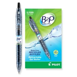 Pilot B2p Recycled Retractable Gel Roller Pens Fine Point Black 3 dozen 31600