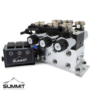 Electric Hydraulic Double Acting Control Valve W Rocker Switch 3 Spool 15 Gpm