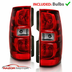 For 2007 2014 Chevy Suburban Tahoe Red Clear Replacement Tail Lights Lamp Pair