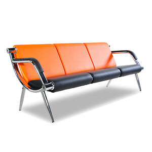 3 Seat Salon Office Guest Bench Airport Reception Chairs W pu Leather Orange