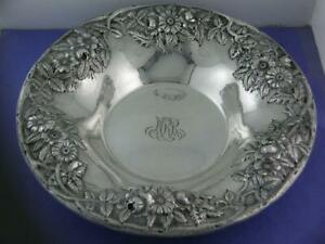 Sterling S Kirk Son 9 Large Bowl Repousse Hand Decorated No 15 11 96ozt