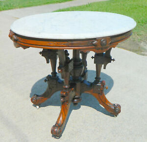 Fantastic Walnut Victorian Oval Marble Top Center Lamp Table