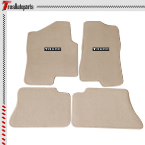For 00 06 Chevy Tahoe Nylon Floor Mat Front Rear Beige Carpet embroidery Emblem