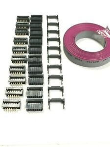 Flat Cable 12 Pins 12 Wires Idc Ribbon 12 Ft X 15mm Wide 10 Set Idc Connector