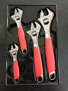 Snap On 4 Pc Adjustable Flank Drive Cushion Red Grip Wrench Set