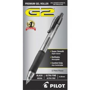 3 Pack G2 Roller Ball Retractable Gel Pen Black Ink Ultra Fine Dozen By Pilot