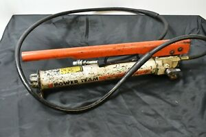 Power Team Hydraulic Hand Pump With Hose And Coupler P 55 Spx Porta Power Used
