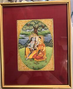 C 19th Framed Indian Hand Painted Watercolour Miniature Painting On Mica Quartz