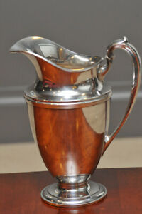 Vintage Plymouth Epns Electroplated Nickel Silver Water Pitcher 9 7 8 Tall