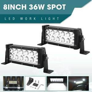 2x 8inch 36w Led Work Light Bar Flood Beam Offroad Driving Lamp Fog Atv Suv 4wd