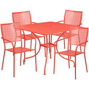 35 5 Square Coral Indoor outdoor Restaurant Table Set W 4 Square Back Chairs
