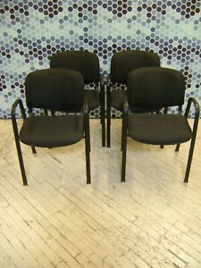 Black Upholstered Arm Office Lobby Chairs Set Of 4