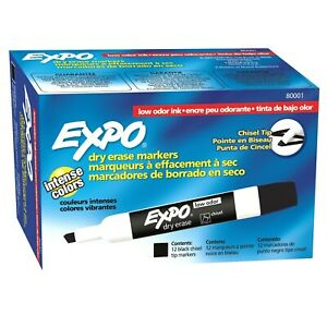 Expo Low odor Dry Erase Markers Chisel Tip 12 X 12 pack Black Total Of 144 Mar
