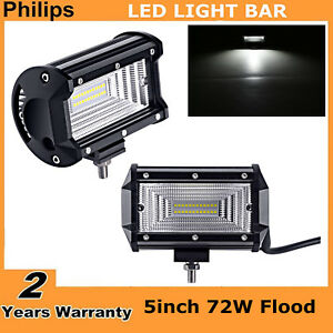 2pcs 5 Inch 72w Flood Led Work Light Bar Truck Boat Suv Driving Lamp Waterproof