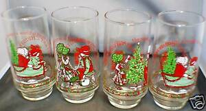 Coca - Cola Glasses 4 Total Christmas VINTAGE COCA COLA GLASSES FOR CHRISTMAS