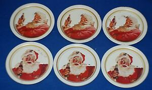 Coca- Cola Coasters Santa Claus Christmas Set of 6 Vintage