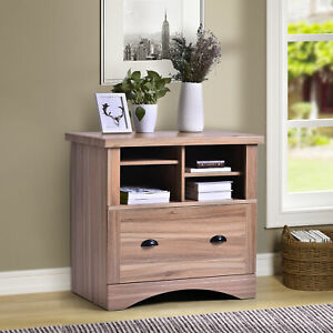 Wood Lateral Filing Cabinet W 1 Lockable Drawer 2 Adjustable Shelves Office