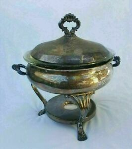 Vtg Silverplate Covered Chafing Warming Dish W 2 Qt Pyrex Glass 024 Bowl Insert
