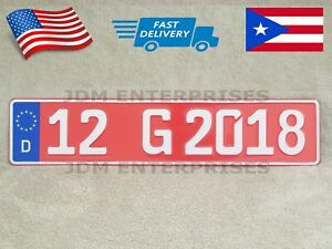 Euro License Plate Embossed Red Background With White Numbers Tablilla Euro