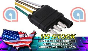 4 Way Flat 4 Pin 1 Feet 12 In Trailer Light Wiring Harness Plug Wire Connector
