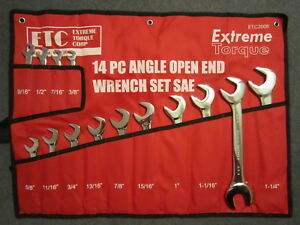 Sae Open End 4 Way Angle Wrench Set 3 8 To 1 1 4 14 Extreme Torque Canvas Wrap