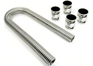 48 Chrome Stainless Steel Radiator Hose Kit With Polished End Caps Street Rod