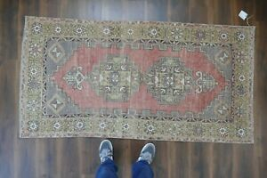 Vintage Turkish Oushak Runner Rug Handwoven Wool Antique Rug Runner 3 4x6 7 Ft