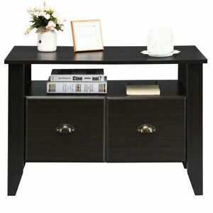 Simple House office Lateral File Cabinet Coffee Table W display Shelf 2 Drawer