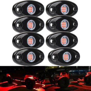 8pcs Underglow Red Led Rock Lights Multicolor Neon Led Light Off Road Ute Boat