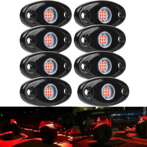 8pcs Underglow Rgb Led Rock Lights Multicolor Neon Led Light Off Road Ute Boat