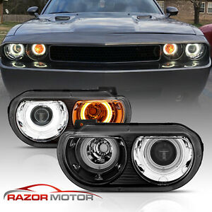 dual Led Halo for 2008 2014 Dodge Challenger G2 Black Halo Projector Headlights