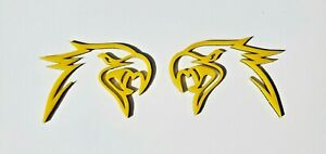 2 Yellow Hellhawk Emblems Fits Jeep Trackhawk Grand Cherokee Left Right Sides