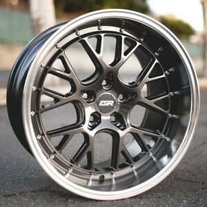 New Staggered Esr Wheels Cs11 18x8 5 9 5 5x100 30 35 Graphite Mach Lip