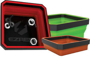 Ez Red 3pc 4 Square Collapsible Magnetic Parts Tray Set Eztrayclr