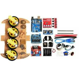 1x Smart Car Kit High Quality Chassis Diy Kit 4wd Ultrasonic For Arduino Auto