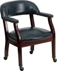 Traditional Style Navy Vinyl Conference Office Chair With Nail Trim