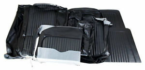 1968 Mustang Vinyl Deluxe Bench Seat Cover Set front Rear black