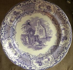Antique Abbey 1790 Purple Transferware Plate Large England 10 1 4