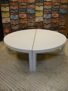 White Round Retail Store Display Four Piece Pie Section Table