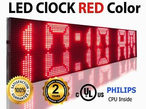 Outdoor Digital Red Programmable Business Led Sign 19 X 50 Neon Open Display