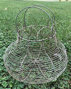 Vintage Primitive Wire Egg Basket Metal Rustic Folding Top Wire Double Handles
