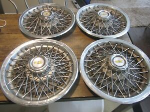 1981 1996 Chevy Caprice Impala Wire Wheel Hubcaps Covers Vintage Full Set 15