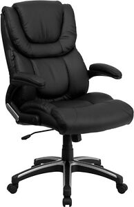 High Back Black Leather Executive Office Chair With Double Layered Headrest