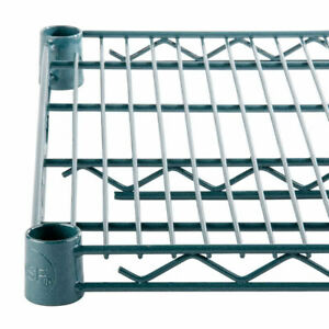 Commercial Epoxy Green Coated Wire Shelving 14x48 2 Shelves Nsf