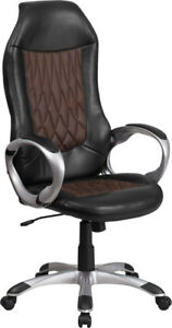 High Back Executive Swivel Office Chair In Brown Fabric And Black Vinyl